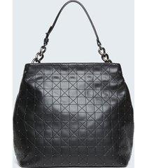 motivi borsa shopper trapuntata con borchie donna nero