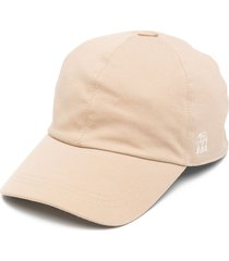 brunello cucinelli embroidered logo baseball cap - neutrals