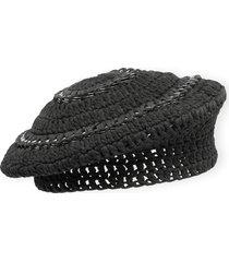 women's ganni cotton knit beret - grey