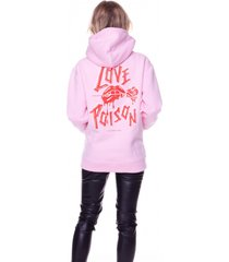 colourful rebel love poison oversized hoodie roze