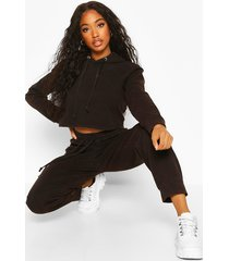 acid wash crop hoodie tracksuit, charcoal