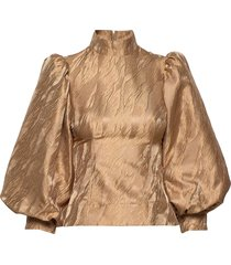 jacquard blouse lange mouwen beige ganni