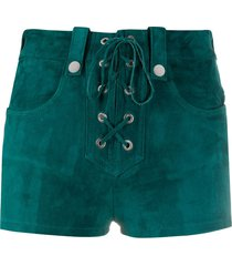 manokhi alys lace-up suede shorts - green