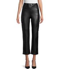 avec les filles women's faux leather cargo pants - onyx - size l
