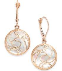 mother-of-pearl swirl drop earrings in 14k gold
