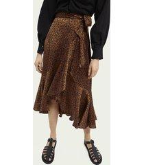 scotch & soda printed ruffled wrap skirt