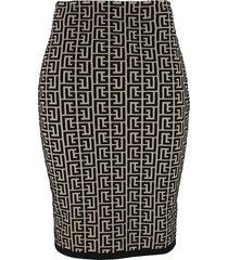 balmain balmain bicolor jacquard knit skirt
