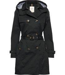 coats woven trenchcoat lange jas zwart esprit casual