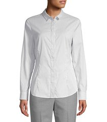 beaded stripe cotton-blend poplin shirt
