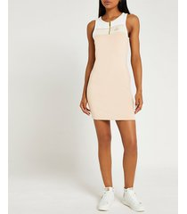 river island womens beige zip neck mini dress