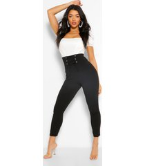 waist shaping lace up front crepe legging, black