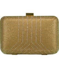 gold crystal yves minaudiere box clutch