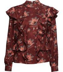 high neck printed ruffle top blouse lange mouwen rood scotch & soda