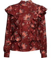 high neck printed ruffle top blouse lange mouwen rood scotch & soda
