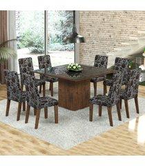 mesa de jantar 8 lugares dara venus dover/cobre/preto - viero móveis