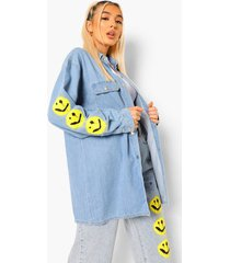 oversized spijkerblouse met smiley mouwopdruk, light blue