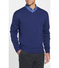 men's big & tall cutter & buck douglas v-neck sweater, size 3xlt - blue