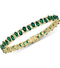 effy emerald (9-5/8 ct. t.w.) & diamond (5/8 ct. t.w.) link bracelet in 14k gold