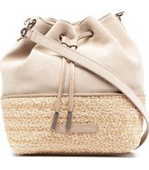 brunello cucinelli panelled drawstring bucket bag - neutrals