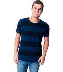 camiseta cuello redondo de hombre tela a rayas - azul