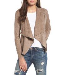women's blanknyc faux suede drape front jacket, size x-large - beige