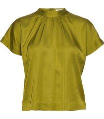 rodebjer lau satin blouses short-sleeved groen rodebjer