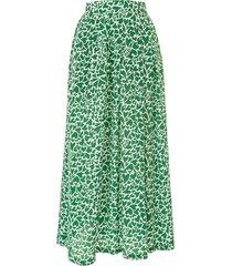 être cécile heart camouflage print silk skirt - green