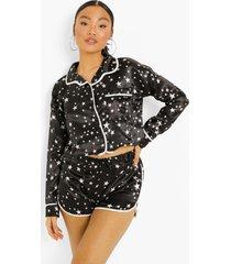 petite sterrenprint pyjama set met shorts, black