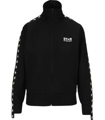 golden goose black denise star collection zipped sweatshirt with contrasting white stars