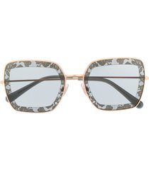 dolce & gabbana eyewear lace detail square sunglasses - gold