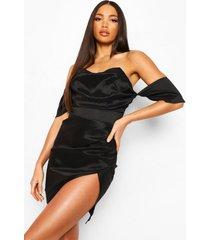 tall gedrapeerde midi jurk met waterval hals en korset top, black