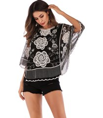 black embroidered round neck bat sleeves blouse