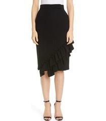 women's max mara eles ruffle trim skirt, size 8 - black