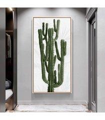 quadro 100x50cm folhas tropicais cacto candelabro canvas em moldura flutuante filete - multicolorido - dafiti