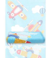 toalha de praia santista aviões 70cmx1,40m azul - tricae