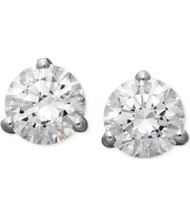 arabella 14k white gold earrings, swarovski zirconia round stud earrings (4-1/4 ct. t.w.)