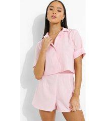 korte geweven gingham blouse, pink