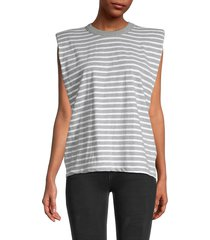 rd style women's striped cotton top - heather - size m