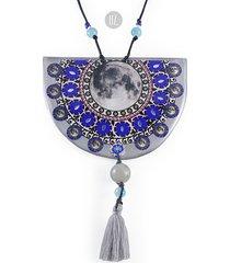 cobalt moon mandala cut xl długi naszyjnik