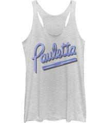 fifth sun bring it on pauletta show fancy script tri-blend racer back tank