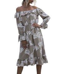 flounce off shoulder leaf print poet sleeve dress