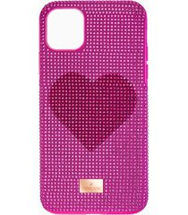 custodia per smartphone con bordi protettivi crystalgram heart, iphoneâ® 11 pro max, rosa