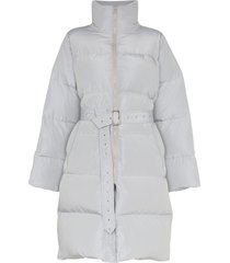 blindness belted mid-length puffer coat - grey