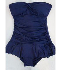 ralph lauren swimdress sz 10 indigo bandeau skirted one piece swimsuit lr5f112
