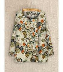 camicetta a maniche lunghe con stampa floreale con bottoni plus