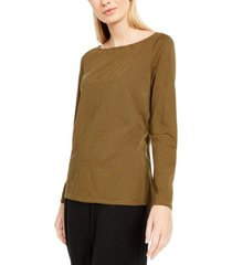 eileen fisher striped ballet-neck high-low top