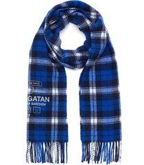 fringe check wool scarf