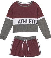 pigiama estivo con maglia cropped a maniche lunghe (rosso) - bpc bonprix collection