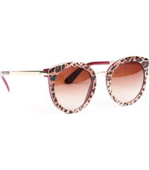 dolce & gabbana leopard print round sunglasses red/brown/animal print sz: