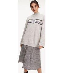 tommy hilfiger women's sequin logo sweatshirt light grey heather - m
